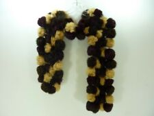 Vintage Rabbit Fur Pom Pom Shawl Cape Wrap Scarf Pompom Balls Purdue colors!!