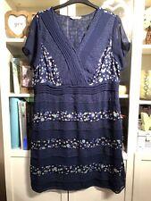 KK64 RJohnRocha Debenhams Plus Sz 22 Navy Tiered Layered Floral Tea Dress