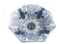 "Vintage Large Asian Blue White Bowl Floral Hexagon Porcelain Signed 11"""