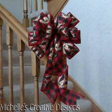 "10"" Wide Red & Black Gingham Plaid Bow W/Gold Deer Pattern~Wreaths~Tree Topper"