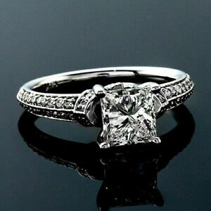 1.00 CT Princess Cut Moissanite Engagement Wedding Ring 14kt Solid White Gold