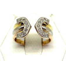 "Double ""C"" with Diamonds 18kt. Three Gold tones Ring"
