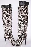 NEW JIMMY CHOO OVER KNEE PONY HAIR LEOPARD PRINT TITAN BOOTS SHOES 37 7