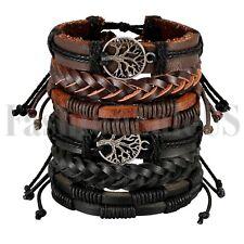 6pcs Mix Wrap Leather Ethnic Tribal Beaded Men Women Cuff Wristband Bracelet Set