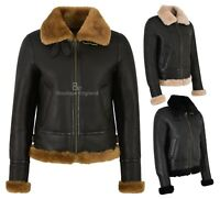 Ladies B3 Sheepskin Jacket Genuine Shearling Fur Flying Aviator RAF Jacket F05