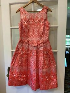 Pink Red brocade MOSS & SPY knee length fit and flare dress size 12 with belt