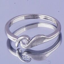 Clear Chic Womens Band Ring Cubic Zirconia White Gold Filled Band Ring Size 6