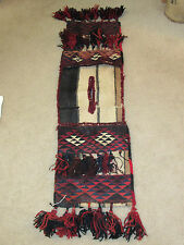 "OLD Afghan Woven Tribal Balouch Rug Carpet Saddle Bag Log Cabin Decor 64"" long"