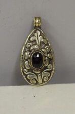 Tibetan Etched Silver Black Crystal Pendant