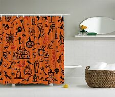 Halloween Home Decoration Black Cat Jack o Lantern Ghost Witch Shower Curtain