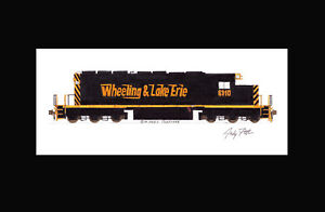 """Wheeling & Lake Erie SD40-2 #6310 11""""x17"""" Matted Print by Andy Fletcher signed"""