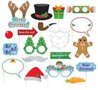 20 Pcs Christmas Santa Hat Party Masks Photo Booth Props Mustache On A Stick