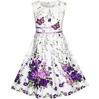 Sunny Fashion Robe Fille Pourpre Papillon Fleur Robe D'été Partie