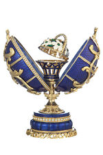 Russian Faberge Egg / Music Box Spring Flowers with Basket 6.5'' (16.5 cm) blue