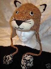 COUGAR HAT Knit ADULT costume FL LINED puma MOUNTAIN LION animal ski cap beanie