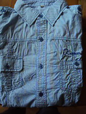 Hochwertiges Kaporal blau weiß Streifen Freizeit Herren Hemd Größe M NEU