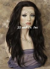 Human Hair Blend Full Lace Front Wig Heat OK Beachy Wavy Off Black 1B sy
