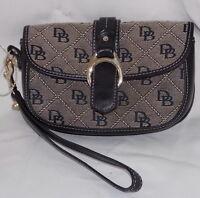 Dooney & Bourke DB Logo Fabric Black Leather Mini Wristlette Purse Handbag EC