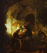 Wonderful art Oil painting Rembrandt - Tobias Returns Sight to His Father canvas