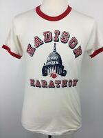 VTG 70s 80s Madison Marathon Wisconsin Running Race Ringer RC Cola T Shirt L