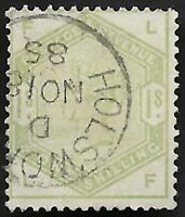 1884 QV SG196 1s Dull Green LF Very Fine Used CV £325