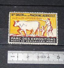 DELANDRE CINDERELLA VIGNETTE TIMBRE IXe SALON MACHINE AGRICOLE PARIS 1930