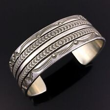 NAVAJO STERLING SILVER HAND STAMPED CUFF BRACELET by BRUCE MORGAN