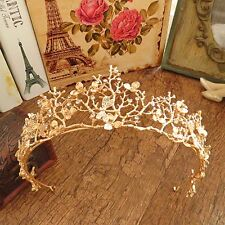 Women Gold Flower Rhinestone Bridal Tiaras Crown Wedding Diadem Hair Accessories