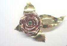 Antique Vintage Retro Colombian Emerald Rose Pin Brooch 14K Rose & Green Gold