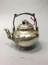 China old White copper Plum blossom branch pattern teapot