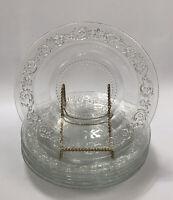 Set of 6 Vintage Glass KIG Malaysia Trellis Fleur de Lis DEEP Salad Plates AA