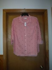Long Sleeve full button front  Shirt Blouse XXL Gap Pink Striped 100% cotton NWT
