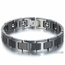 Men's Golf Link Bracelet Tungsten Carbide Magnetic Energy Therapy Power Black