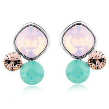Stylish Multi Coloured Simulated Opal Pink Blue Crystal Stud Pierced Earrings