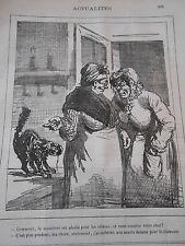 Typo Caricature 1878 - Muselière abolie pour les chiens mais pas pour le chat