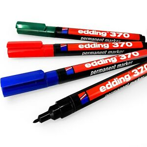 Edding 370 Permanente Rotulador – 1mm Punta Tipo Bala – 1 de Cada Color - Pack 4