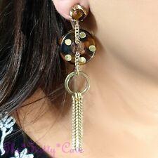 Classic Tortoiseshell Amber Effect Big Catwalk Donut Dangle Drop Tassel Earrings