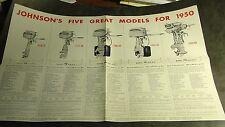 VINTAGE 1950 JOHNSON SEA HORSE OUTBOARD MOTOR SALES BROCHURE POSTER SIZE  (591)