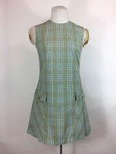 Vintage Green Plaid Dress 1960s Skater Pleated Jumper Pockets Mod