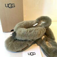 Women's UGG Slip on Slippers UK Size 5 and 6 Khaki Fluffy Flip Flop Toe Post