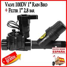 """Electrovalvula de riego por goteo Rain Bird 1"""" 24V 100DV + Filtro de malla 1"""" 32"""