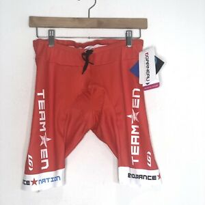 Garneau Womens L Cycling Shorts Endurance Nation Padded UV Protector Red NEW
