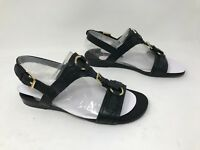 New! Women's Franco Sarto Gili Casual Leather Flat Sandals - Black 33Q