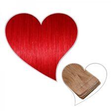 10 Tape-On-Extensions in rot 35 cm Echthaar Remy Haarverlängerung Klebestreifen