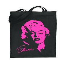 Neon Pink Marilyn Monroe Canvas Tote Book Bag Black Cotton Over The Shoulder Bag