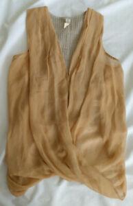Maggie Ward Size XS Silk / Linen Crochet Sheer Sleeveless Tank Blouse Top Beige
