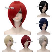 "12"" Black/Blue/Red/Gray Unisex Fashion Heat Resistant Bangs Short Cosplay Wig"