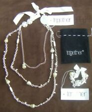 Womens Necklace & Bracelet set New Together pretty Pearl Bead Silver effect BNWT