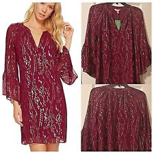 NWT Lilly Pulitzer Matilda Silk Metallic Tunic Dress Fish Clip Chiffon Shiraz XS