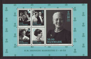 Denmark 2020 MNH - Queen Margrethe 80 years Anniv - m/sheet of 5 stamps